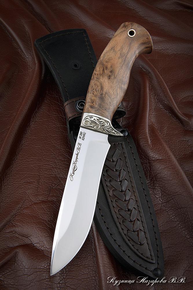 Нож Варан M390 карельская береза коричневая мельхиор