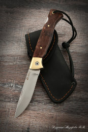 Folding knife Wolf steel Elmax lining stabilized Karelian birch (brown)