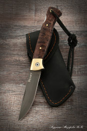 Folding knife Wolf steel Bulat lining Karelian birch(brown)
