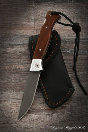 Folding knife Wolf steel kh12mf lining brown hornbeam
