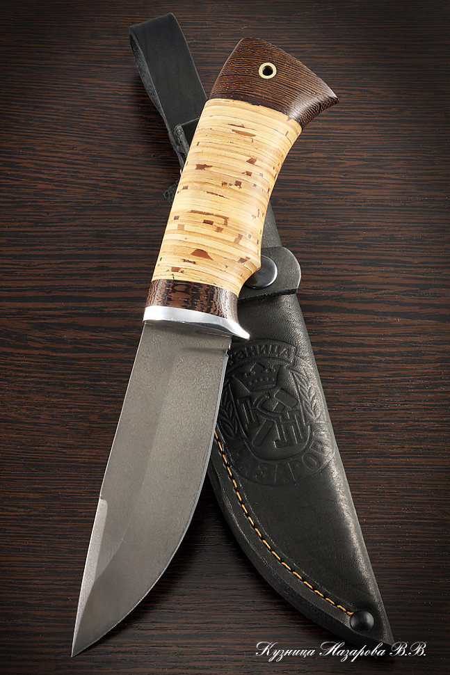 Вот пример ножа с такой наборной ручкой из бересты.