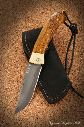 The taiga knife folding steel Bulat lining stabilized Karelian birch (amber)